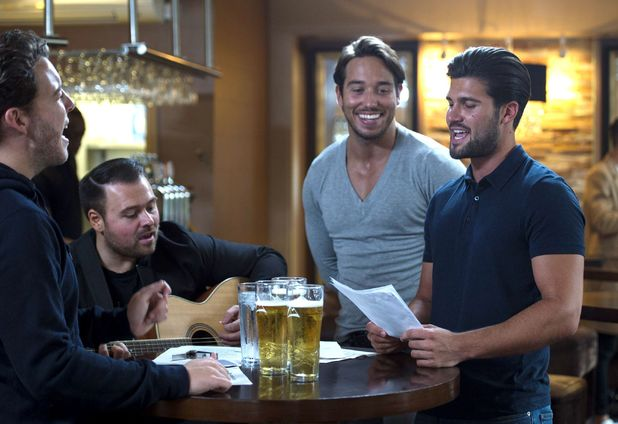 The Only Way is Essex cast filming: James Bennewith, James Lock and Dan Edgar meet singing teacher Tony - Brentwood - 16 Oct 2015.