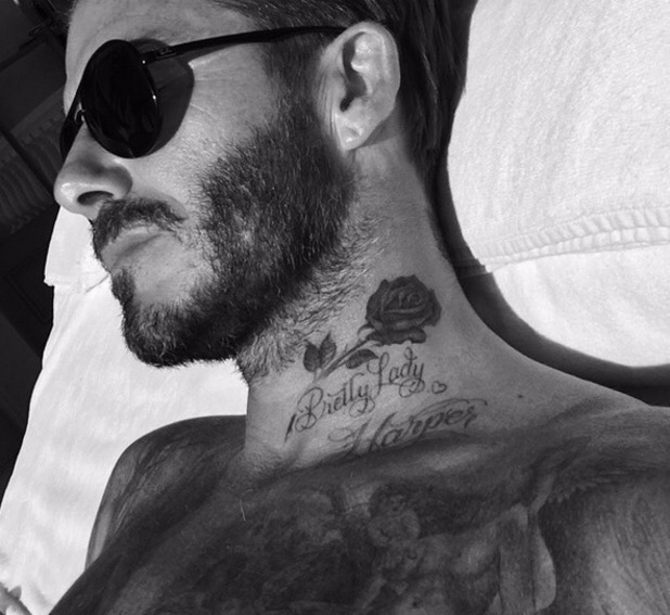 David Beckham shows off new rose tattoo on neck 23 October