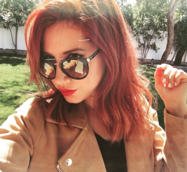 Ashley Tisdalel dyes her hair deep red, by Kristen Ess, 7 October 2015