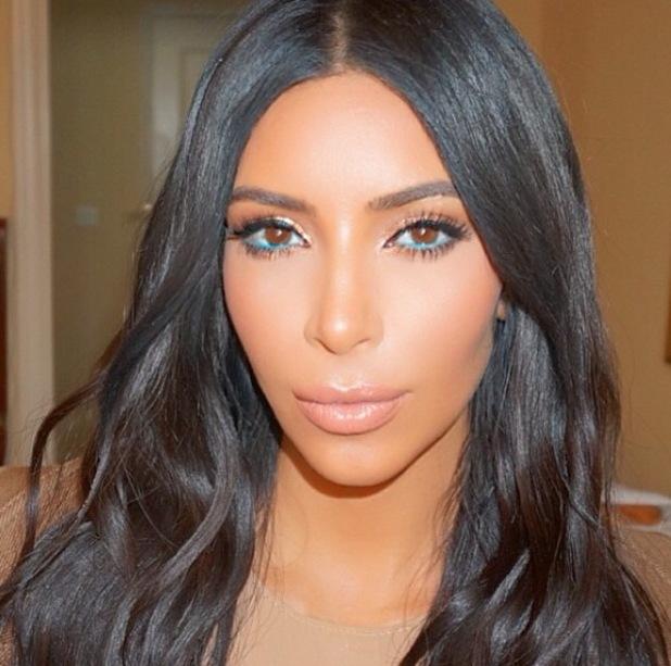 Kim Kardashian wears blue eyeliner and shares selfie on Instagram 21st October 2015