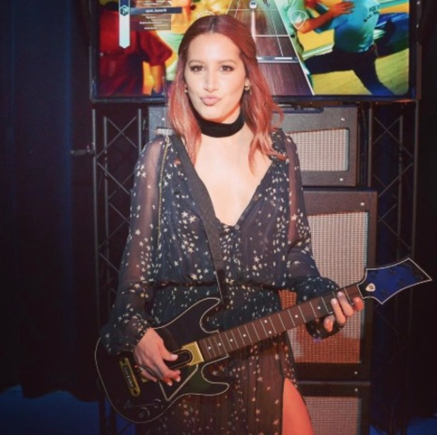 Ashley Tisdale wears stars in her red hair at Guitar Hero Love party, by Kristen Ess, 20 October 2015