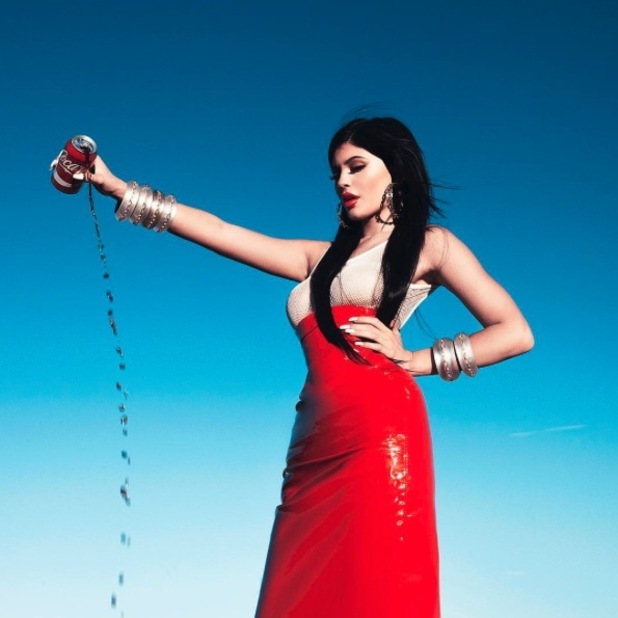 Kylie Jenner poses in red dress on fashion photo shoot, 23rd October 2015