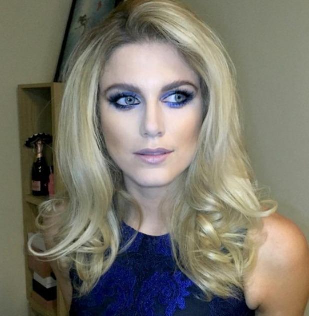 Ashley James wears stunning blue eye make-up to Michelle Keegan/Lipsy launch, 21 October 2015