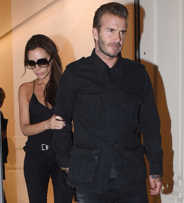 David and Victoria Beckham pictured leaving her flagship London store 23 September