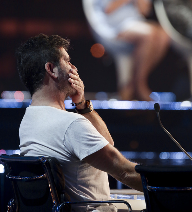 X Factor: Simon Cowell at the Six Chair Challenge. 18 October 2015.
