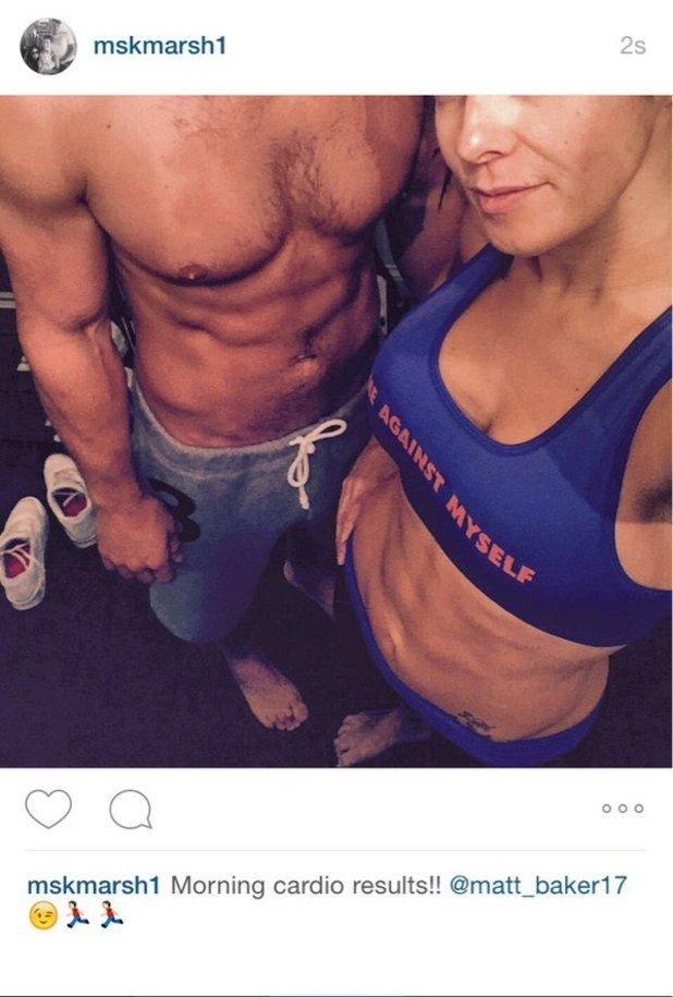 Kym Marsh and boyfriend Matt Baker show off abs in gym, October 2015.