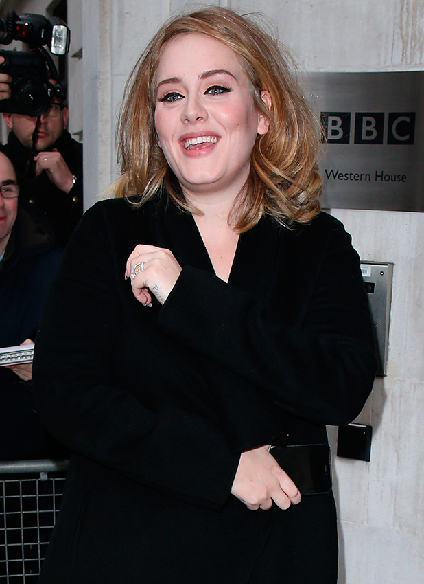Adele seen arriving at BBC Radio 2 on October 23, 2015 in London, England. (Photo by Neil Mockford/Alex Huckle/GC Images)