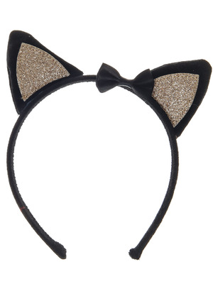 Black and Gold Glitter Cat Ears Headband, Claire's