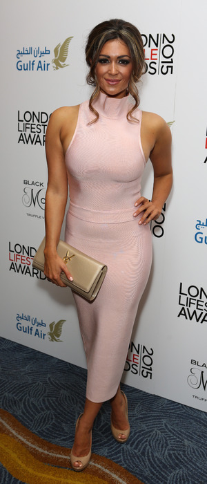 Casey Batchelor wears House of CB dress at London Lifestyle Awards 2015, 29th October 2015