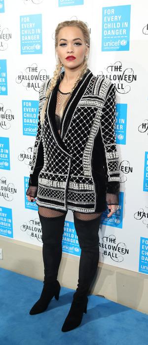 Rita Ora attends the UNICEF Halloween Ball in London wearing Balmain, 29th Otober 2015
