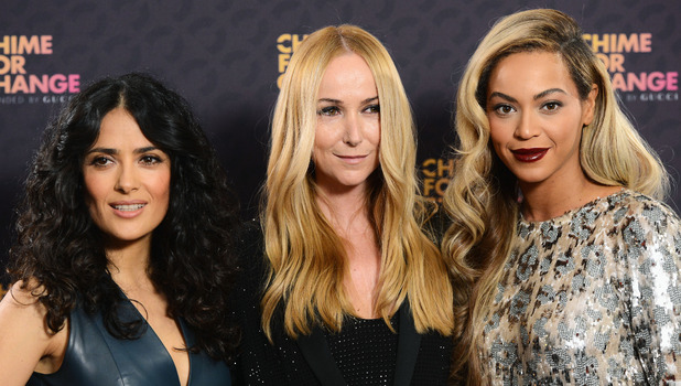Co-founders Salma Hayek Pinault, Creative Director of Gucci Frida Giannini and singer Beyonce pose backstage in the media room at the 'Chime For Change: The Sound Of Change Live' Concert at Twickenham Stadium on June 1, 2013 in London, England.