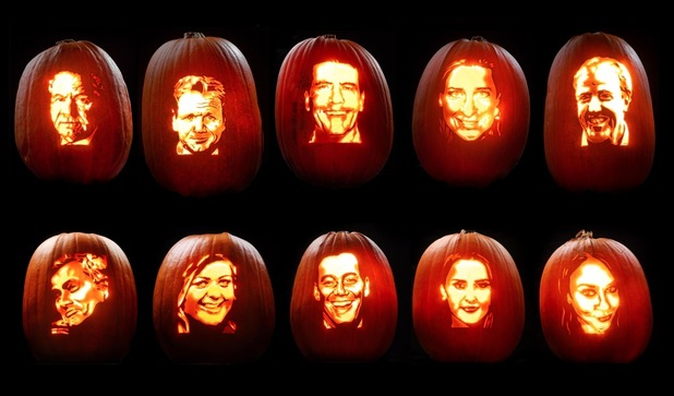 Britain's most fearsome celebs according to a poll - this terrifying tribute has been created by Asda pumpkin artist David Finkle for the supermarket this Halloween. - October 2015