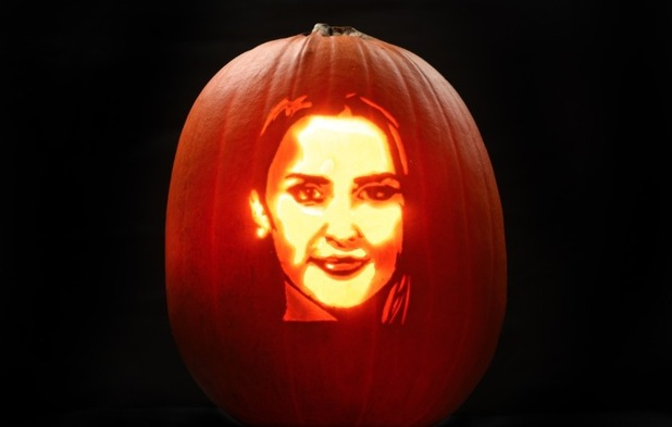Lucy Watson - this terrifying tribute has been created by Asda pumpkin artist David Finkle for the supermarket this Halloween. - October 2015