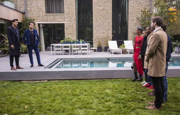 Nick Grimshaw with Mark Ronson and X Factor contestants at Judges' Houses. October 2015.