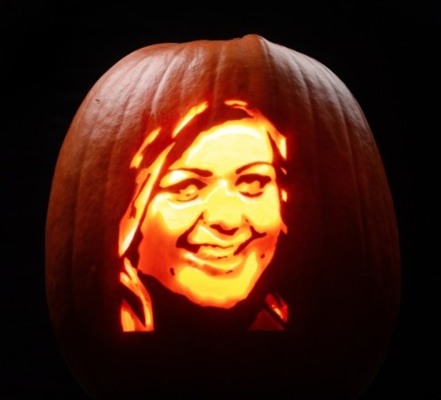 Gemma Collins - this terrifying tribute has been created by Asda pumpkin artist David Finkle for the supermarket this Halloween. - October 2015