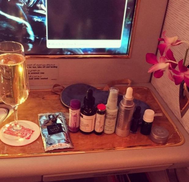 Millie Mackintosh show off her in-flight beauty secrets, 28 October 2015