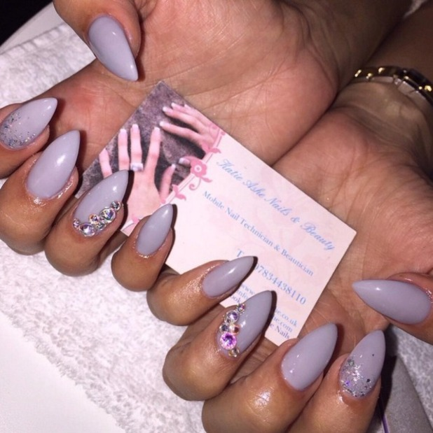 Jasmin Walia shows off super-long, lilac and bling nails by Katie Ashe Nails & Beauty, 28 October 2015