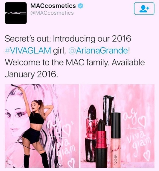 Ariana Grande is announced as M.A.C's latest Viva Glam lipstick campaign celebrity, 28th October 2015