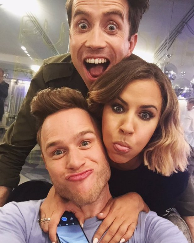 Olly Murs, Caroline Flack and Nick Grimshaw goof about backstage on The X Factor, 30 October 2015.