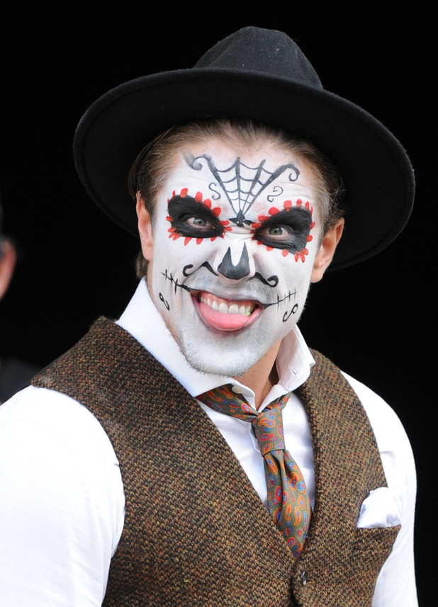 TOWIE's Lewis Bloor filming Mexican Day of the Dead Halloween themed party - 28 October 2015.