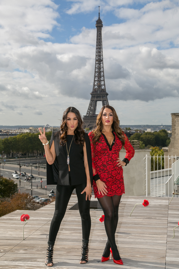 WWE Divas Brie Bella and Nikki Bella attend a photocall to promote their show 'Total Divas', Paris 8 October