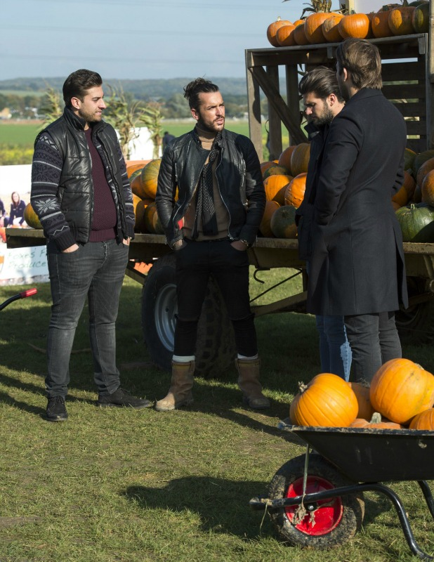 'The Only Way is Essex' cast filming, Britain - 26 Oct 2015 James Argent, Peter Wicks, Dan Edgar and James Lock
