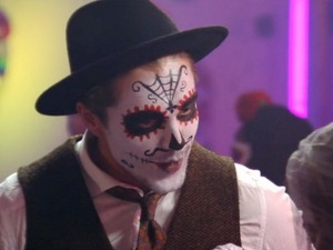 Lewis speaks to ex-girlfriend Nicole at Mexican Day of the Dead party. Episode aired 1 November 2015.