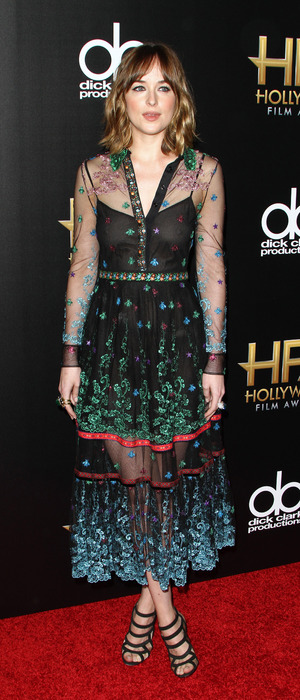 Dakota Johnson wears sheer dress to the 19th Annual Hollywood Film Awards at The Beverly Hilton Hotel in Beverly Hills, 2nd November 2015