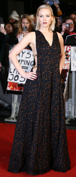 Jennifer Lawrence on the red carpet at the The Hunger Games: Mockingjay Part 2 premiere in London, 6th November 2015
