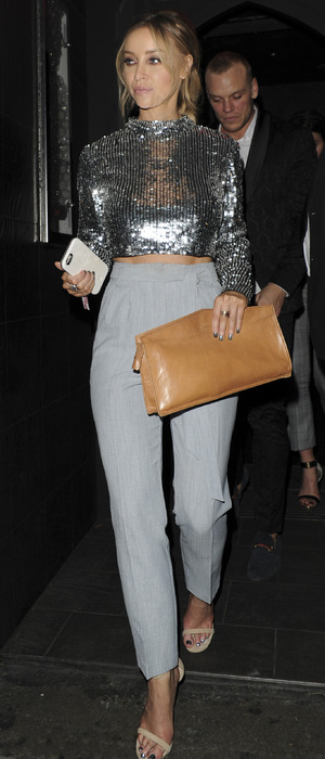 Lauren Pope at dinner with celebrity friends at London's The Drury Club, 5th November 2015