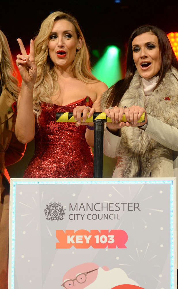Kym Marsh and Catherine Tyldesley switch on the Manchester Christmas Lights at Albert Square, 7 November 2015.