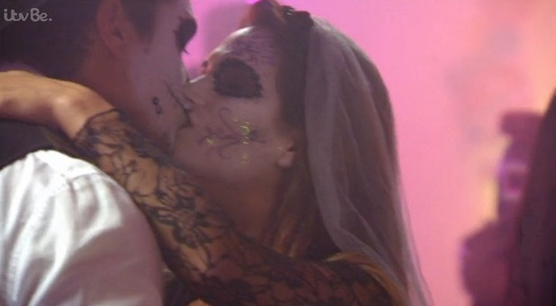 Lewis kisses ex-girlfriend Nicole at Mexican Day of the Dead party. Episode aired 1 November 2015.