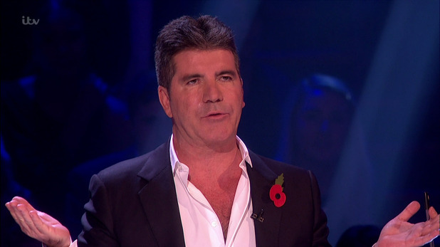 Simon Cowell during X Factor's live results show. 1 November 2015.