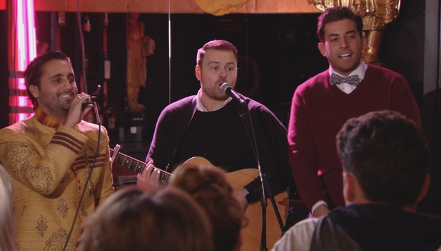 TOWIE's Liam Blackwell and James 'Arg' Argent sing at party. Episode airs Sunday 8 November 2015.