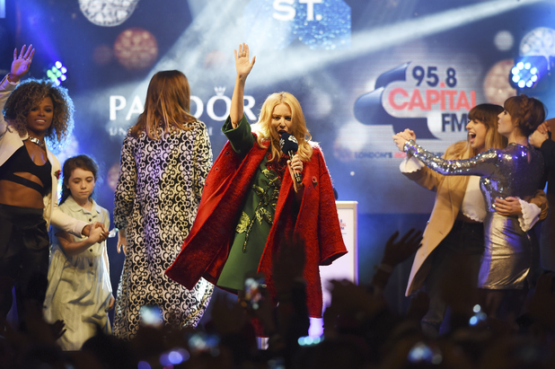 Fleur East, Kylie Minogue, Gabrielle Aplin, Foxes turn on the Oxford Street Christmas lights in London, 2nd November 2015
