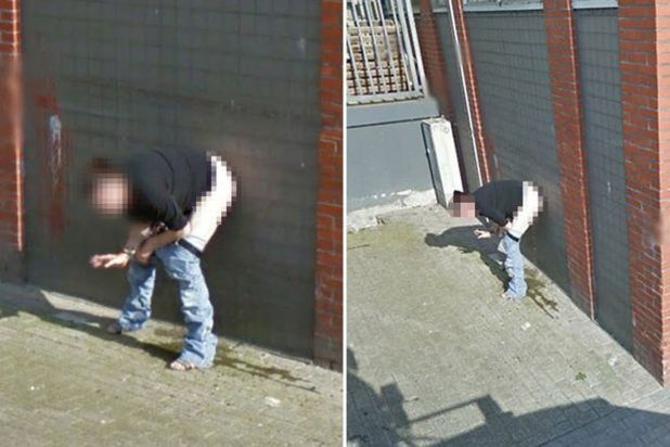 Google street view cameras captured this woman urinating against a wall