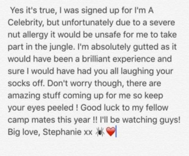 Stephanie Davis confirms I'm A Celebrity exit on Twitter 6 November