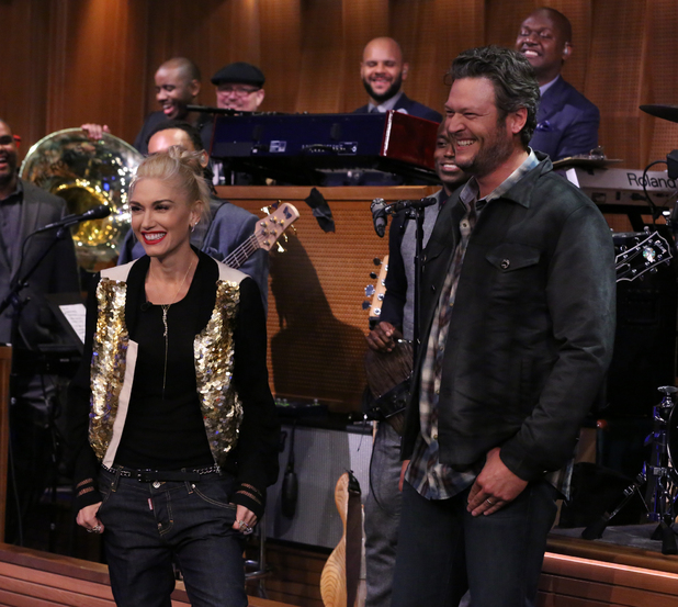 The Tonight Show Starring Jimmy Fallon - Season 1. Gwen Stefani and singer Blake Shelton during a lip synch battle on 17 September 17 2014.