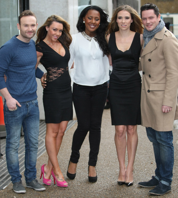 Celebrities at the ITV studios - Liberty X - Kevin Simm, Michelle Heaton, Kelli Young, Jessica Taylor, Tony Lundon. 31 January 2015.