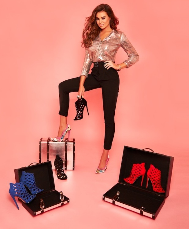 Jessica Wright Footwear campaign image one, posing with cage heels, 2nd November 2015