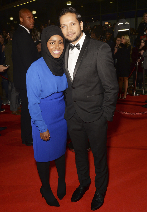 Nadiya Hussain and husband Abdal attends the MOBO Awards at First Direct Arena on November 4, 2015 in Leeds, England.