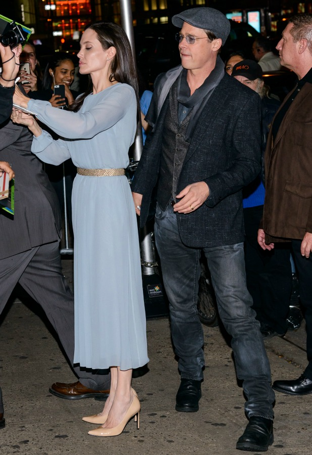 Brad Pitt and Angelina Jolie arrive at a screening of 'By The Sea' at Cinemas 1, 2, 3 in Manhattan