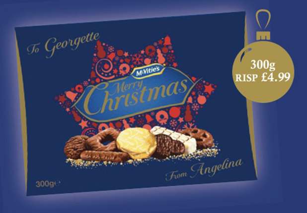 McVitie's personalised Christmas biscuits box, £4.99