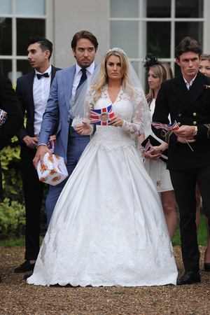 Danielle Armstrong wears a bridal gown as Towie film their Royal Wedding party for Nanny Pat 80th birthday in the finale episode at Addington Palace in Croydon. 9th November 2015