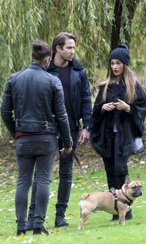 'The Only Way is Essex' cast filming, Britain - Peter Wicks, Nicole Bass and James Lock and dog Ernest 5 Nov 2015