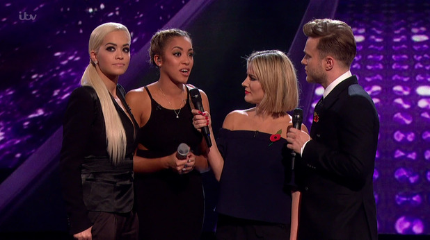 Kiera Weathers after she was eliminated from the competition in the public vote on the results show of 'The X Factor'. 8 November 2015.