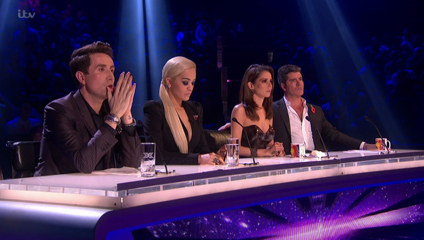 The judges deliver their verdicts on the sing-off, on the results show of 'The X Factor' 8 November 2015.