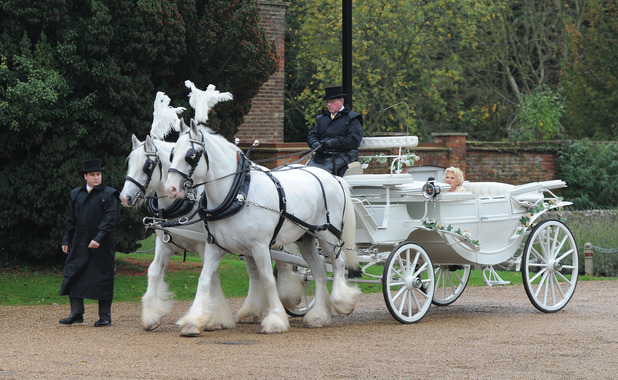 TOWIE'S Nanny Pat arrives in a horse drawn carriage for her royal wedding themed 80th birthday party, 9th November 2015