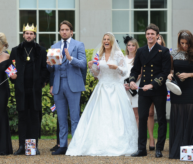 Danielle Armstrong wears a bridal gown as Towie film for their Royal Wedding party as Nanny Pat celebrates her 80th birthday in the finale episode at Addington Palace in Croydon. 9th November 2015