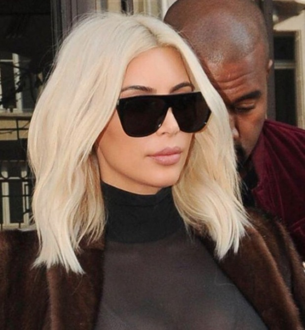 Kim Kardashian shares throwback pictures of her favourite hairstyles, blonde long bob 13th November 2015